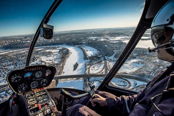 Helikoptervlucht boven Edmonton