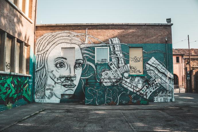 Street art in Ferrara, Italië