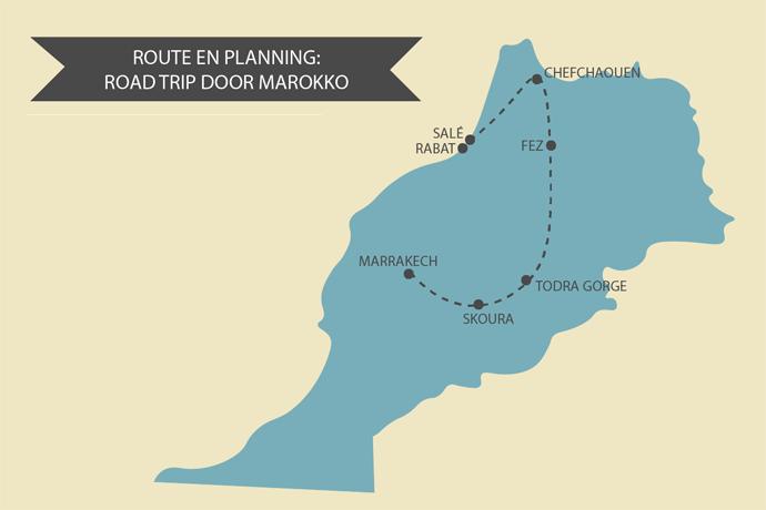 Kaart Marokko Road Trip