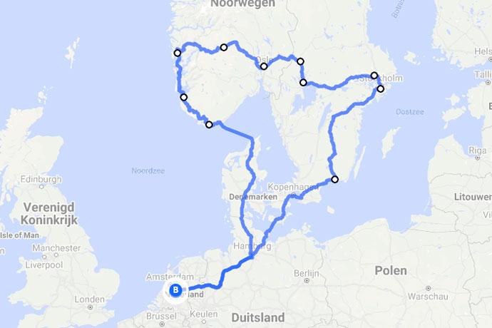 Route Scandinavië: rondreis door Noorwegen, Zweden en Denemarken op de kaart