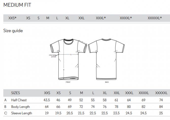 Expeditie Aardbol t-shirt size guide