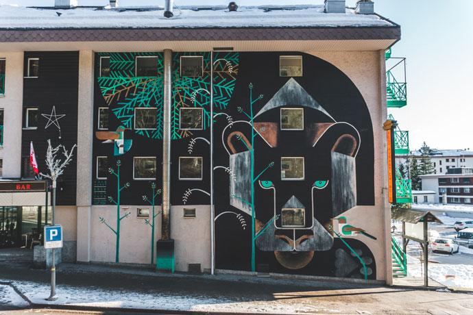 Street art in Crans-Montana, Zwitserland
