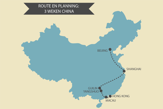 Kaart China Route Planning
