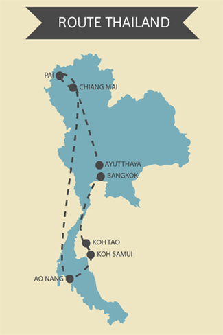 Kaart Thailand Route Planning