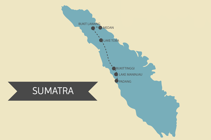 Kaart Sumatra Route Planning